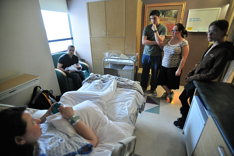 A large family in hospital.