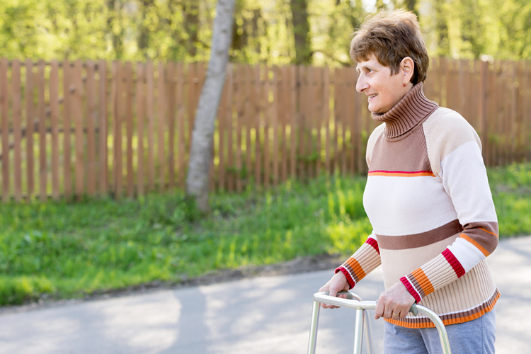 The shopping cart push of a patient with a wheeled walker. Walking Frame