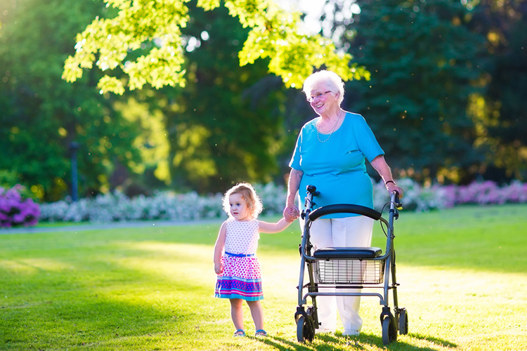 An elderly lady with her niece. Walking Frame