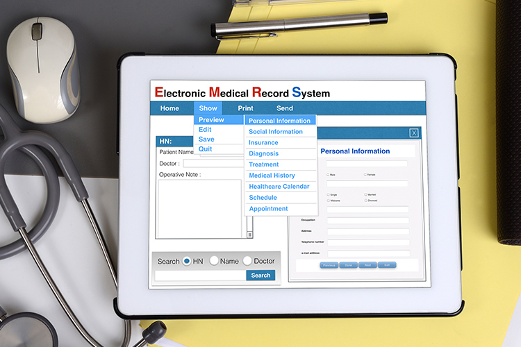 Electronic health record system on an iPad. Electronic Health Records