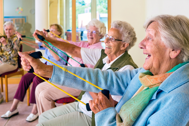 older adults in an exercise group