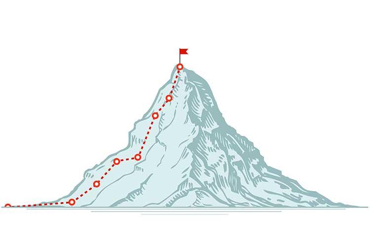 Progress to a goal - climbing a mountain vector concept | Image